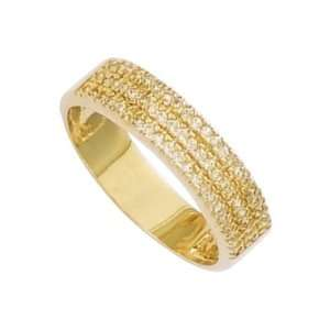 Gold Plated Clear Cubic Zirconia Wedding Band Ring   Size 8 Jewelry