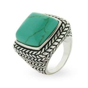 Sterling Silver Bali Style Large Turquoise Ring Size 9 (Sizes 6 7 8 9