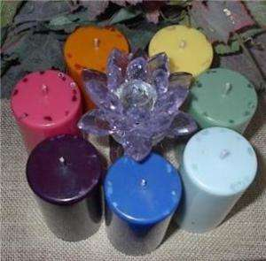 CHAKRAS scented w/crystals SOY pillar CANDLES set healing reiki