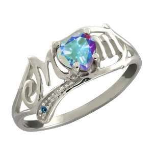 Heart Shape Mercury Mist Mystic Topaz and Diamond Sterling Silver Ring