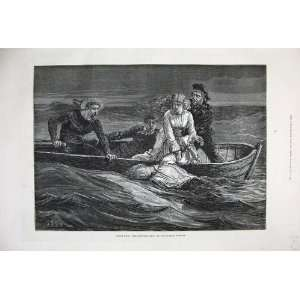 1877 Scene Scuttled Ship Olympic Theatre Boat Sea Art