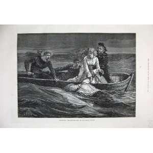 1877 Scene Scuttled Ship Olympic Theatre Boat Sea Art