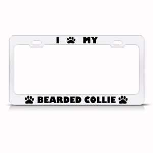 Bearded Collie Dog White Animal Metal license plate frame Tag Holder