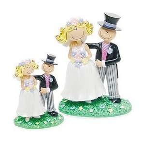 Funny Cake Topper   Small Comical Bride & Groom Figurine