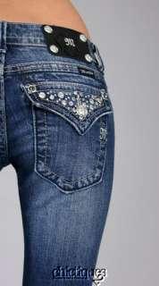 Miss Me Jeans Crystal Studs & Stones DK 93 Denim Boot Cut JW5141B8 Sz