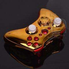 CUSTOM MODDED XBOX 360 CHROME GOLD AND RED WIRELESS CONTROLLER SHELL