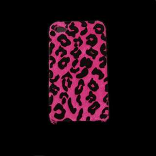 Hot Pink Leopard Furry Skin Cover Case for iPhone 4S 4G
