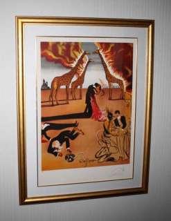 Signed SALVADOR DALI Art LITHO, UACC, Museum Frame, COA, Burning