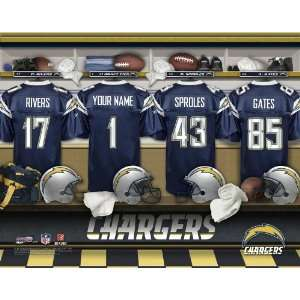 Personalized San Diego Chargers Locker Room Print Sports