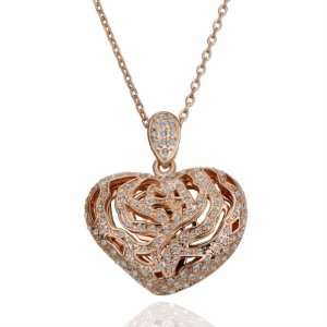 Rose Gold Hollow Inlaid Crystal Heart Shaped 18k Gold Plated Necklace