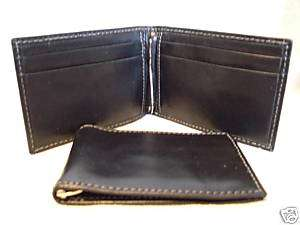 Leather Mens Black Slim Bifold Wallet