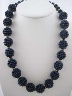 DESIGNER Vintage Blueberry Gold Tone Necklace