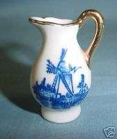 Cute Miniature Delft Blue Porcelain Pitcher ~ Gold Trim