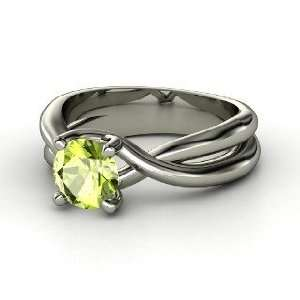 Entwined Ring, Round Peridot 14K White Gold Ring Jewelry