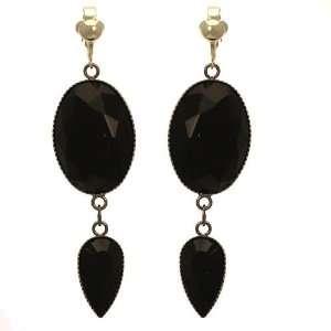 Fenestra Antique Silver Black Crystal Clip On Earrings