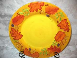 New LAURIE GATES WARE Autumn Leaves Gold Dinner Plate