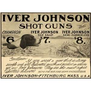 Ad Iver Johnson Arms Cycle Works Gun Dog Duck Hunt   Original Print Ad
