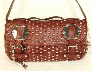 DKNY Nappa Leather Stud Clutch Shoulder Bag Purse Dark Red