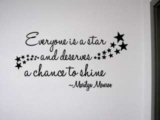 EVERYONE IS A STAR Vinyl Wall Quote Decal Home Decor Art Marilyn