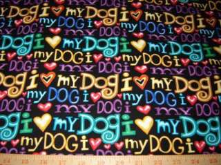 Fabric Timeless I LOVE MY DOG lover hearts rainbow/blk