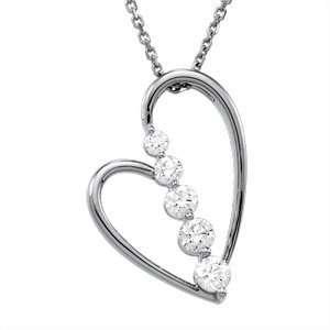14K White Gold Journey Diamond Heart Pendant Everything