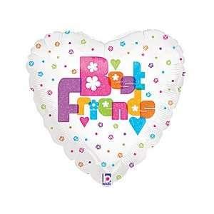 Best Friends Heart Polka Dot Flower 18 Balloon Mylar