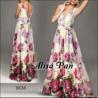 Sexy Double V neck Chiffon Floral Printed Prom Dress 09638
