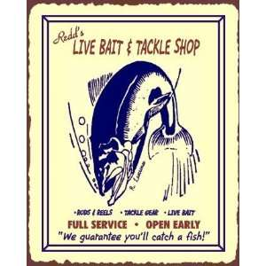 Redds Live Bait & Tackle Vintage Metal Art Fishing Retro