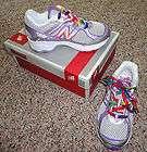 girls New Balance white silver purple tennis shoes sz 11 rainbow laces