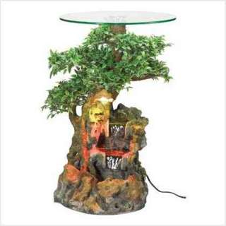 Bonsai Forest Water Fountain Glass Top Table w/Light