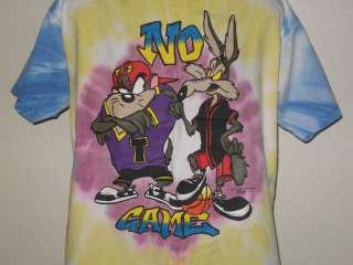 vintage 1995 NO GAME LOONEY TUNES TIE DYE T Shirt XL neon hip hop