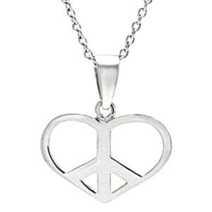 Silver Peace Sign Heart Necklace .925 Stamp Hypoallergenic Jewelry