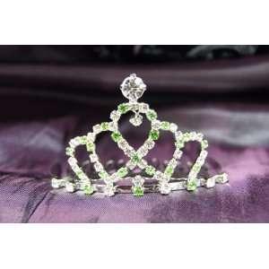 Princess Bridal Wedding Tiara Crown with Green Crystal