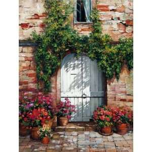 Roger Duvall: 24W by 32H : Wooden Doorway,Siena CANVAS
