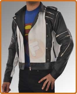 Pepsi Ad Black/White Leather Jacket Classic Vintage Design