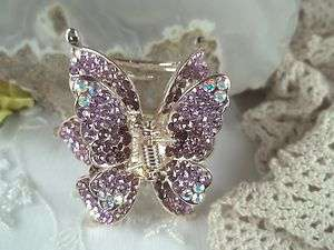 Beautiful Purple Swarovski Crystal Butterfly Design Hair Claw Sparkly