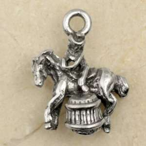BARREL RACING HORSE & RIDER Pewter Charm:  Home & Kitchen