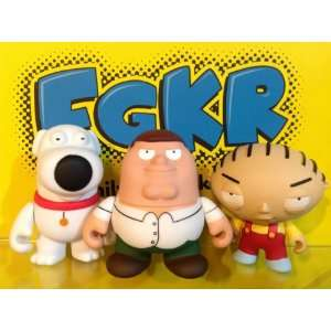 Kidrobot Family Guy Set 3 Peter Stewie & Brain W/Boxes
