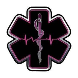 Pink EMT EMS Star Of Life With Heartbeat   16 h