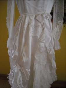 wedding dress satin lace tiers sheer sleeve elbow length veil S