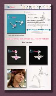 Korean PRINCESS HOURS 16g 1/4 Angel Wing Heart Piercing