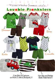 Newborn Baby Boys Top Bodysuit Pants 3 SetLovable Pranksters