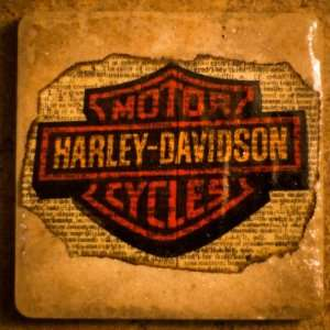 Set of 4 Harley Davidson Custom Made Ceramic Coasters