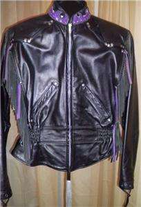Harley Davidson Leather Jacket Vtg Custom Purple Fringe Med USA Made