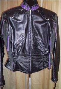 Harley Davidson Leather Jacket Vtg Custom Purple Fringe Med USA Made