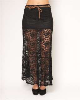 sheer mesh floral net lace belted long maxi skirt prev stop play next