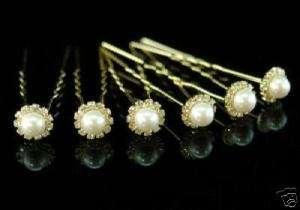 pcs set X Bridal Faux Pearl Gold Plat Hair Pins P1106
