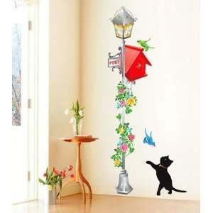 Cat & Postbox Decor Mural Art Wall Sticker Decals KR 0012
