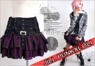 Punk Rock Goth Tiered Plaid Buckle Mesh Corset Skirt P