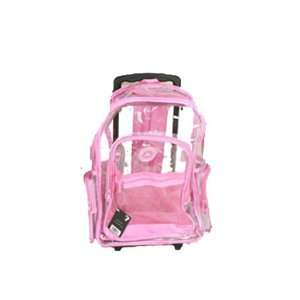 Pink Clear Rolling Backpack on Wheels 18 Sports